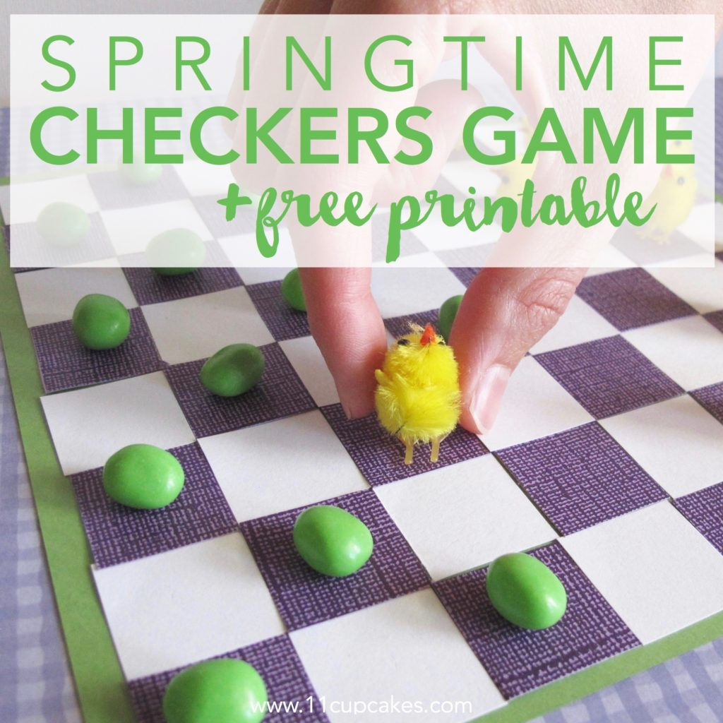 Springtime Checkers Game and free printable. Easy DIY kids game for spring and Easter