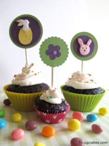 DIY Easter Cupcake Toppers | What better way to get ready for spring than with chocolate cupcakes? We thought these would be great for a spring gathering or an Easter lunch. Use the link below to make the adorable cupcake toppers featured here.