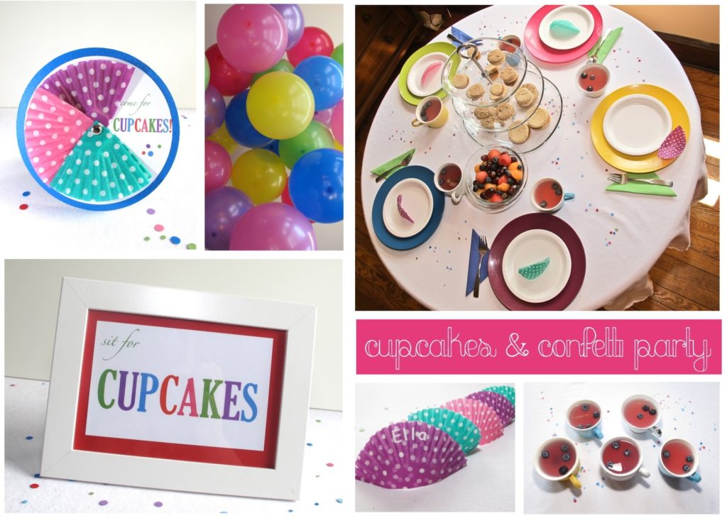 We are excited to announce our first party guide- Cupcakes & Confetti! We have had so much fun coming up with this adorable party for you to throw yourselves. It is full of printable invitations, cupcake toppers, games, food suggestions, decorations, and more!