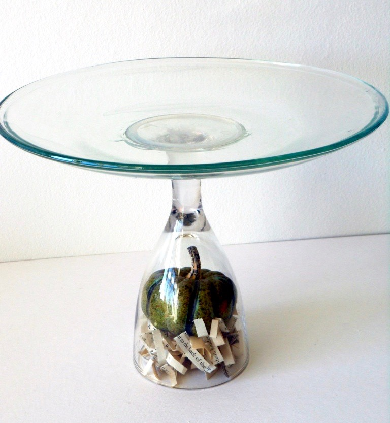 DIY terrarium style cake stand made from a wine glass perfect handmade tablescape via 11cupcakes
