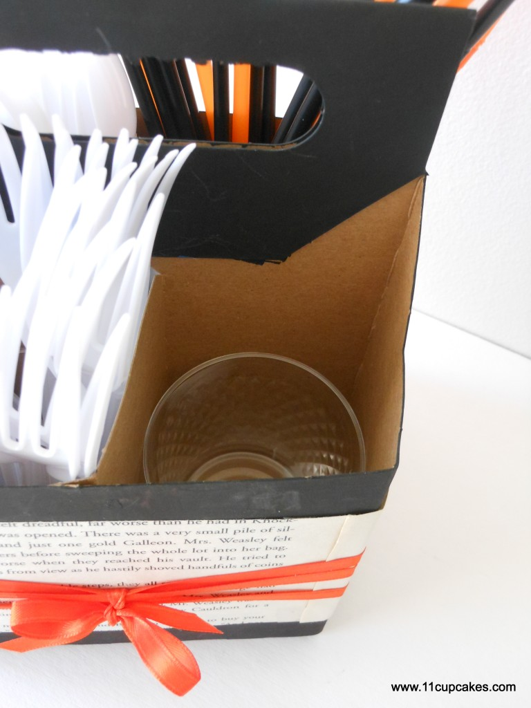 DIY Silverware Caddy | Today's DIY idea turns a cardboard bottle caddy into a party perfect silverware caddy.
