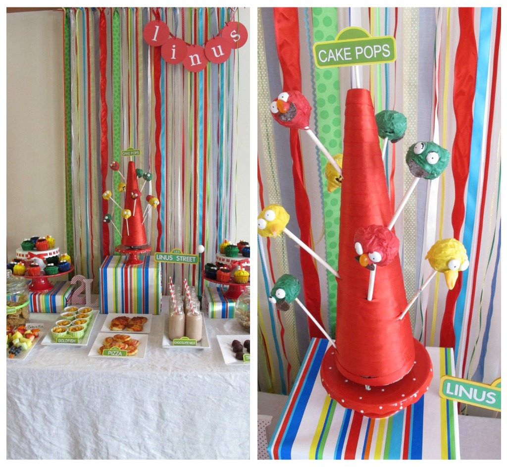 This simple lollypop stand can work great for cake pops, lollypops, rock candy, and more! You can find the full tutorial here. If you plan on using this for more than one occasion, choose a ribbon color that could work for both. We found that red and white were good colors that could be used over and over again.Here is the one we made for a Sesame Street inspired party.