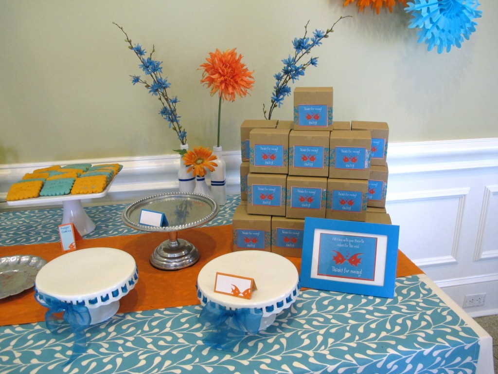 The bride asked a few family members to bake homemade cookies to give away as favors at this shower. I simply added favor tags to brown boxes and guests got to choose which cookies and treats they would like to take home. It was a huge hit!
