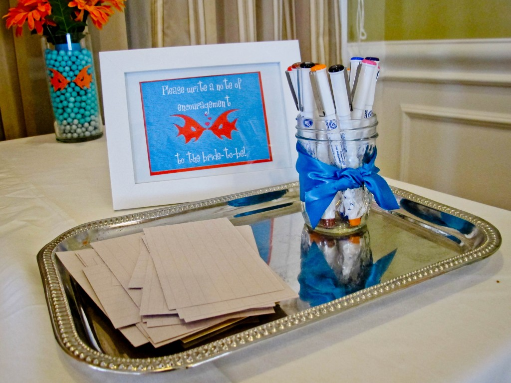 When guests first arrived at the shower, they were asked to write a note of encouragement to the bride-to-be on lined paper. The notes, along with pictures from the shower, were later put into a small scrap book and given to the bride at the wedding. It is a fun memento that she will have and can look back on everyone's notes in years to come.