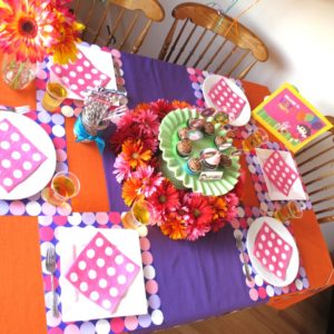 Pink, purple, and orange were the primary colors used to decorate for this Dora the Explorer Party, with green and blue used as accents.