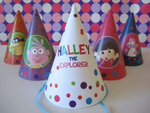 Dora the Explorer Party | After a few requests for Dora the Explorer Party hats and water bottle labels, these are now available in our etsy shop, and included in the Dora the Explorer Party Pack.