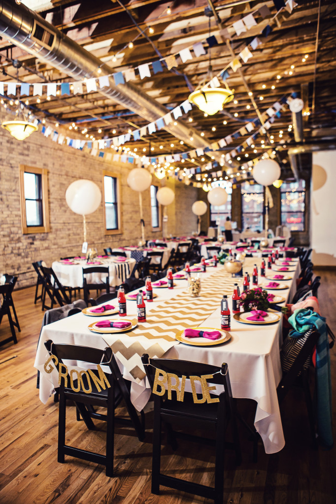 Minneapolis Real Wedding | When we were looking for a Minneapolis reception venue, I wanted a blank canvas. I had pictured a large open loft where I could transform the space, and the Day Block Event Center was exactly what we were looking for. The brick walls, exposed ceilings, and beautiful hardwood floors were a perfect starting place
