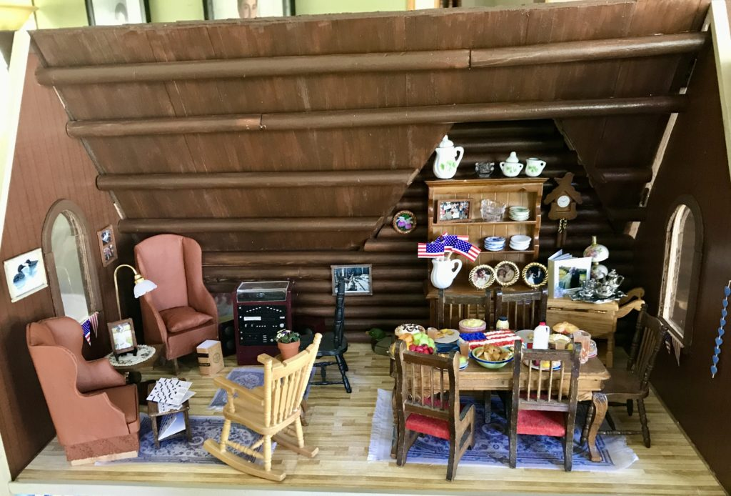 Dollhouse living room and dining room table ready for 4th of July