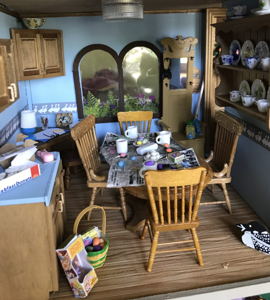 Dollhouse miniature kitchen ready for Easter Egg dying