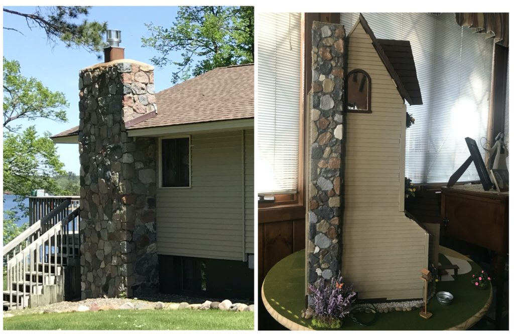 Stone chimney compared to miniature dollhouse chimney