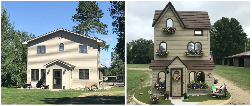 Grandparents life-size house compared to dollhouse miniature house