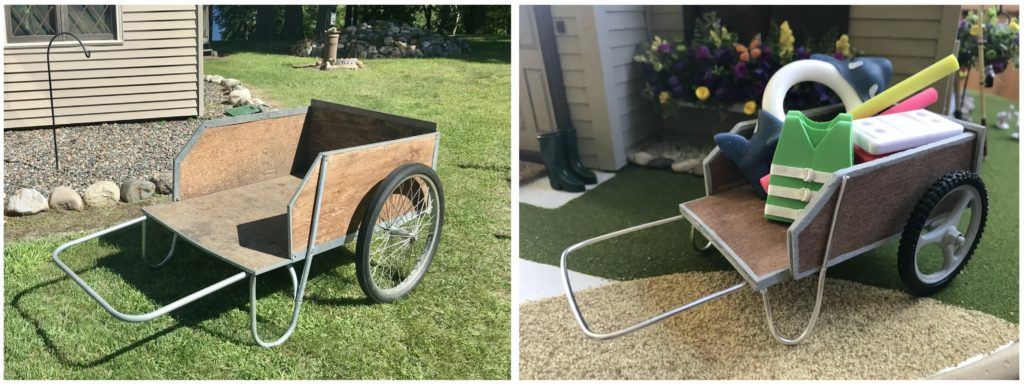 Life size garden cart compared to dollhouse miniature garden cart